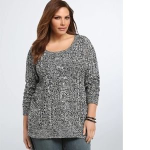 Torrid Marled Knit Cable Stitch Sweater 2 NEW